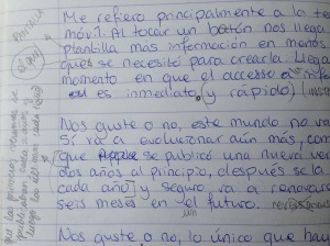 A piece of my own free writing in Spanish
